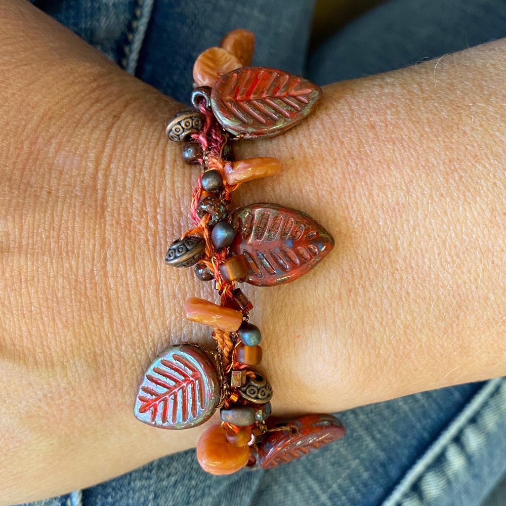 crocheted leaf bracelet