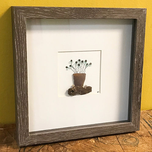 Potted Plant Beach Glass 8x8