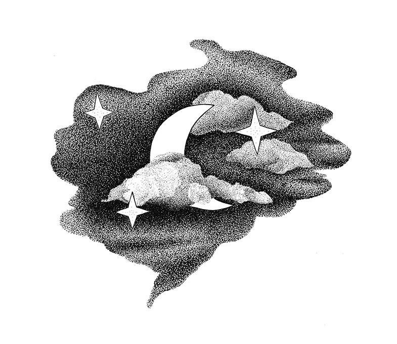 Moon and stars print