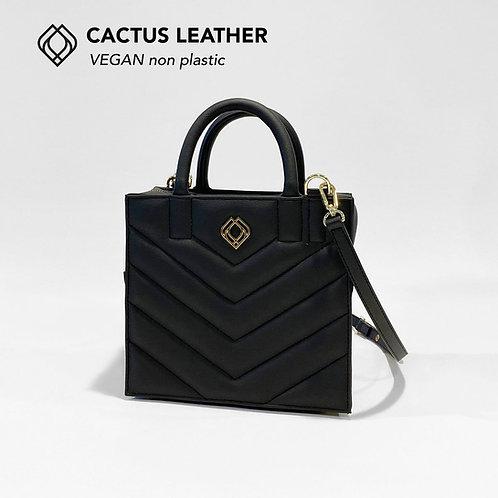 BOX BAG - Cactus Leather - Black - Stitches
