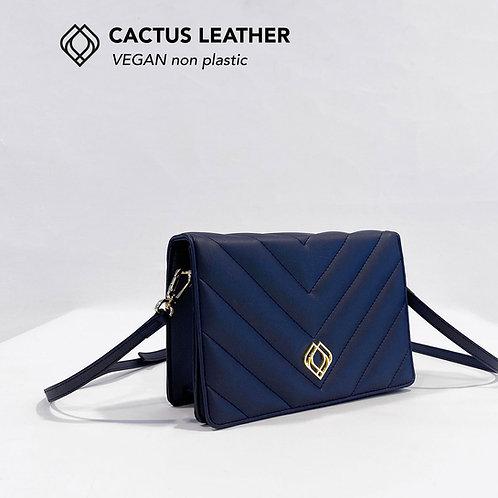 CLUTCH - Cactus Leather - Nightblue- Stitches