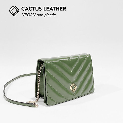 CLUTCH - Cactus Leather - Green - Stitches