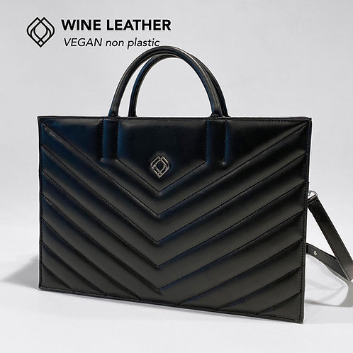 BUSINESS BAG - Wine Leather - Black - Stitches