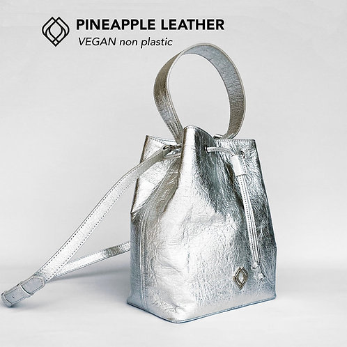 BUCKET BAG - Pineapple Leather - Silver