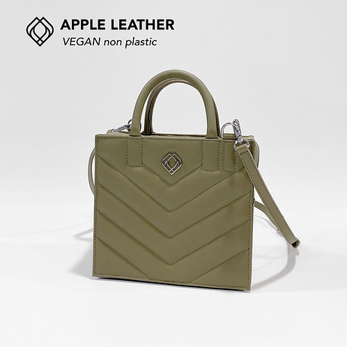 BOX BAG - Apple Leather - Olive Green - Stitches