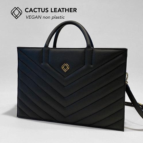 BUSINESS BAG - Cactus Leather - Black- Stitches