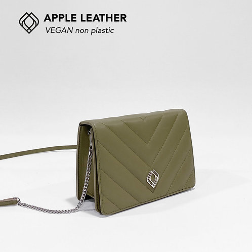 CLUTCH - Apple Leather - Olive Green - Stitches