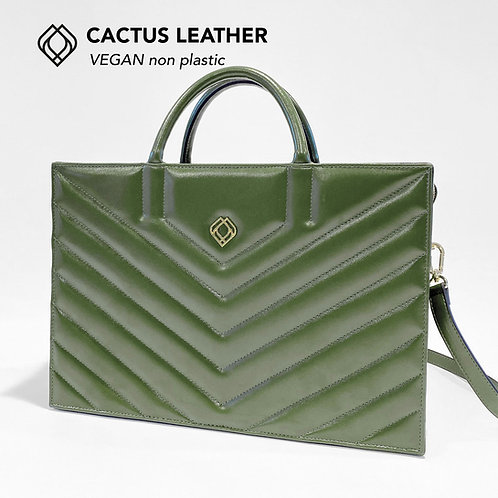 BUSINESS BAG - Cactus Leather - Green - Stitches