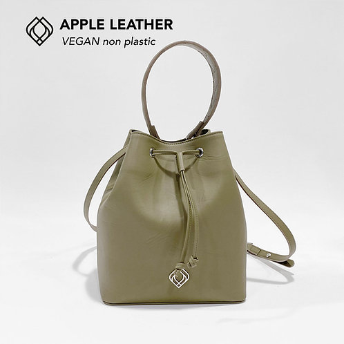 BUCKET BAG - Apple Leather - Olive Green - Stitches
