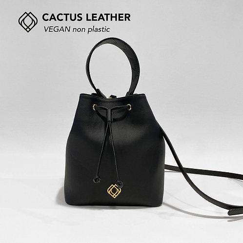 BUCKET BAG - Cactus Leather - Black - Stitches