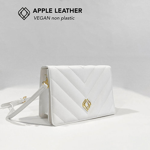 CLUTCH - Apple Leather - White - Stitches
