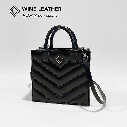 BOX BAG - Wine Leather - Black - Stitches