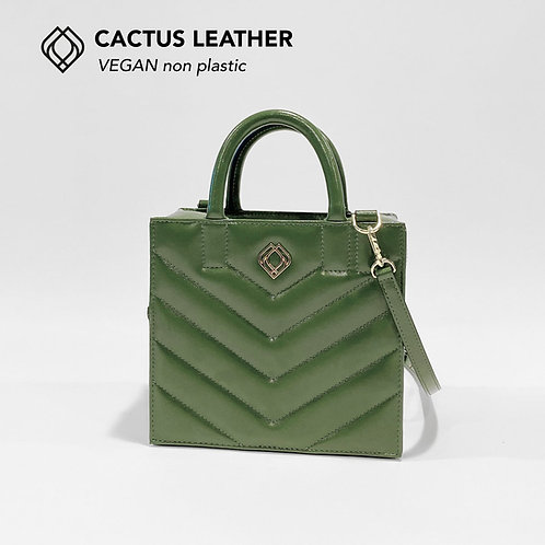 BOX BAG - Cactus Leather - Green - Stitches