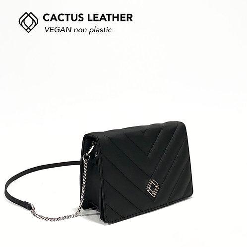 CLUTCH - Cactus Leather - Black - Stitches