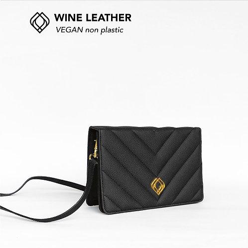 Clutch - Wine Leather - Black - Stitches