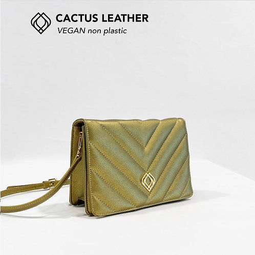 CLUTCH - Cactus Leather - Gold- Stitches