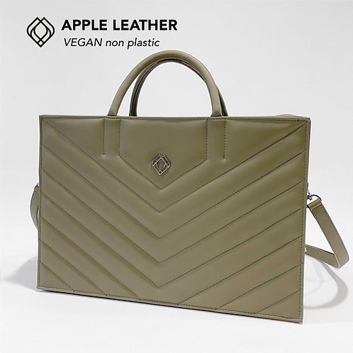 BUSINESS BAG - Apple Leather - Olive Green - Stitches