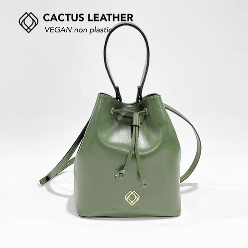 BUCKET BAG - Cactus Leather - Green - Stitches