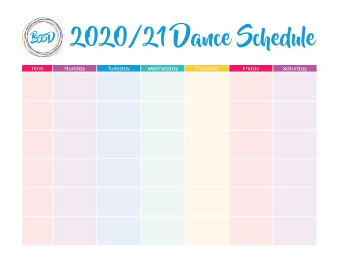 Printable Dance Schedule