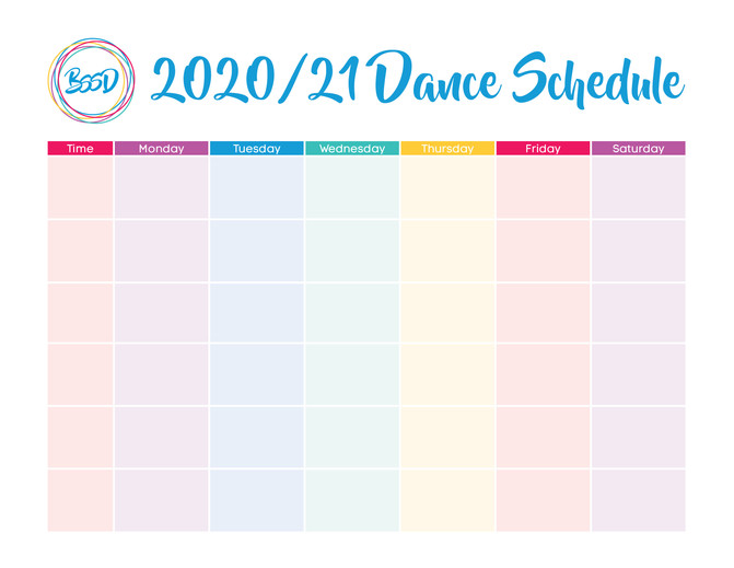 Printable Dance Schedule