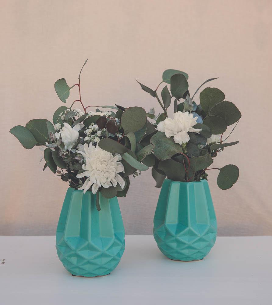Aqua Geometric Vases
