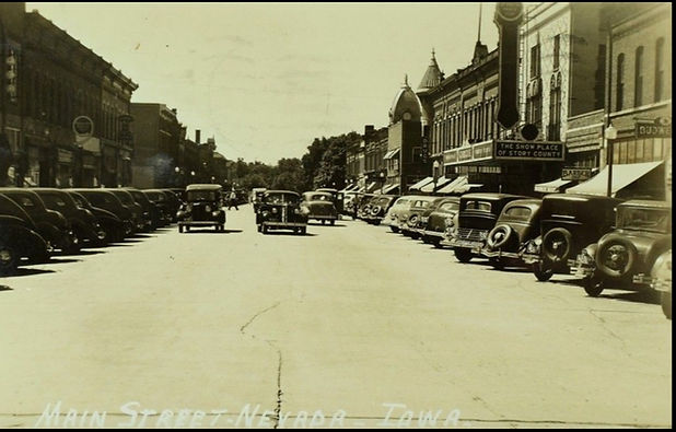 Historic Downtown Nevada, Iowa in the 1960s
