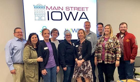 Main Street Nevada, Iowa board members at a main Street Iowa conference in Nevada, Iowa