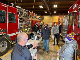 Nevada, Iowa board members attending an educational safety event at Nevada, Iowa fire station.