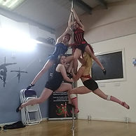 Pole dancers as a Christmas tree