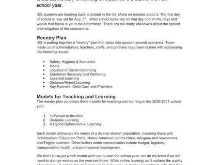 IES Reentry Plan and 2020-2021 School Year