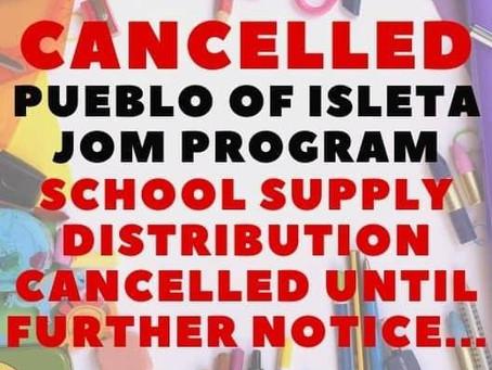 JOM School Supplies Distribution Cancelled