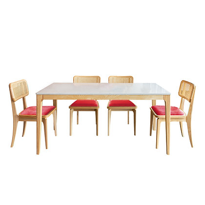 BUNDLE Quartz Classic Serie Dinner Table and 4 Red Cushion
