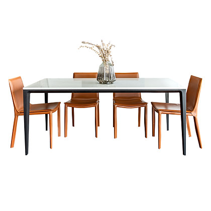 Set Quartz Marble Serie Dining Table + 4 Leather Chairs