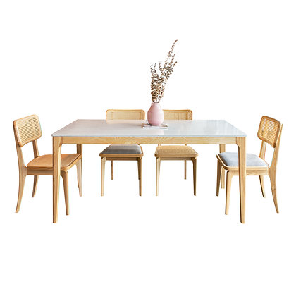 Quartz Classic Serie Dinner Table with Wooden Legs (package sets available!)