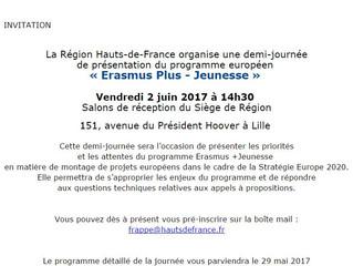 Information sur le programme Erasmus Plus Jeunesse le  juin prochain à Lille !