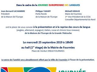 Reprise des cours de langue à l'occasion de la Journée européenne des langues !