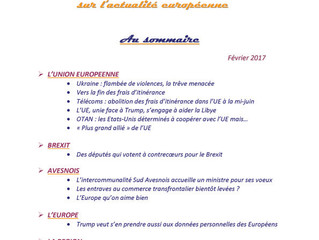 La revue de presse sur l'actualité européenne du mois de février 2017