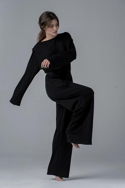 Maxi jumpsuit wool I black