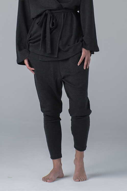 Wool low crotch pants - dark grey
