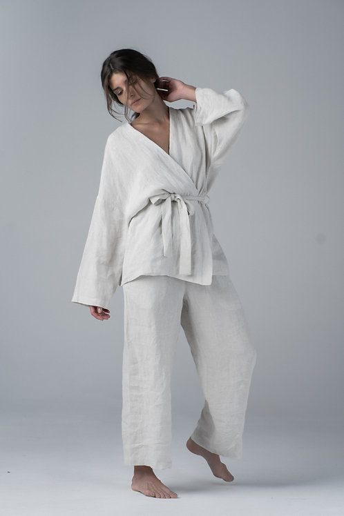 Linen home kimono set