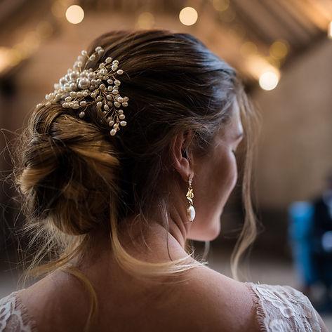 bride in pearl earrings