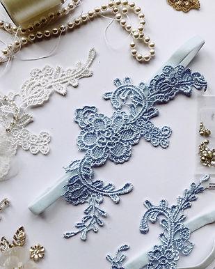 Guipure Lace Garter - Blue