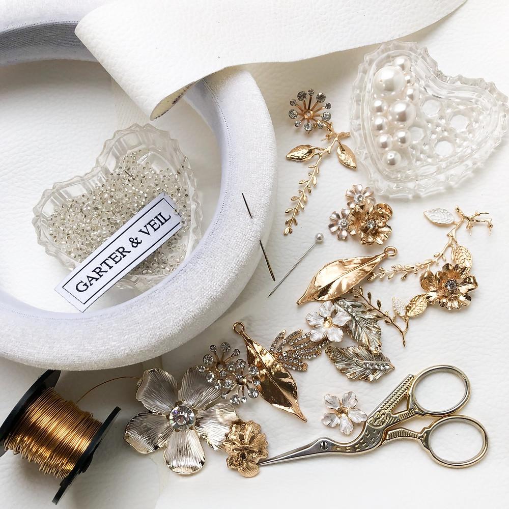 gold botanic elements for stitching