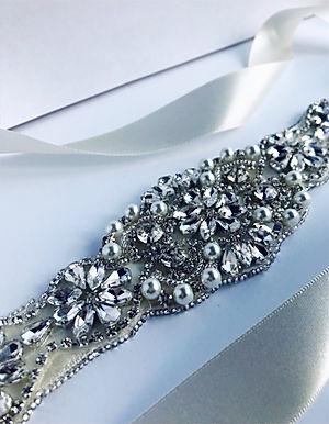 Couture / Crystal & Swarovski pearl belt sash - Silver