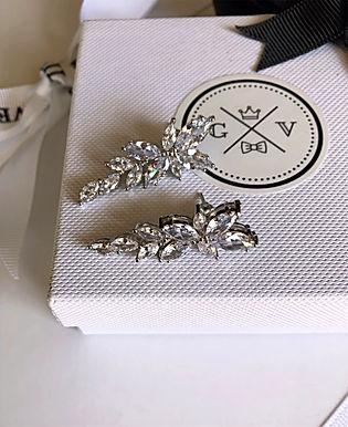 FLEUR Marquise Crystal Earrings (Silver)
