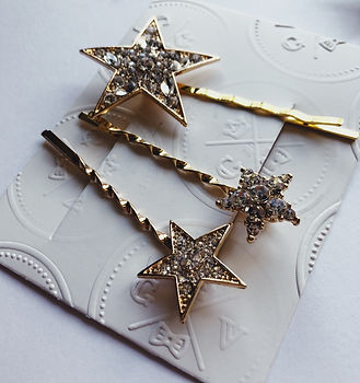 Star crystal hair pin accessories