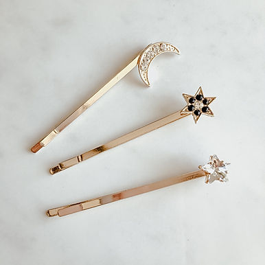 GALAXY Star & Moon Hair Pin Set