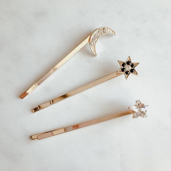 GALAXY Star & Moon Hair Pin Set