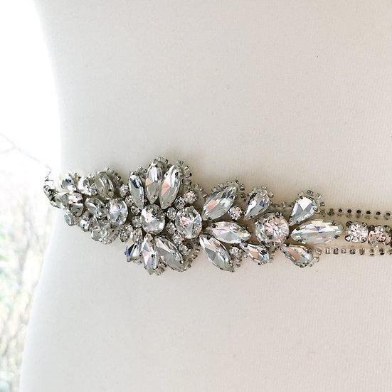 Couture / flower crystal belt sash - Silver