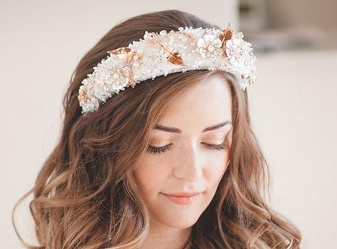 white floral embroidered wedding headband on brunnette bride